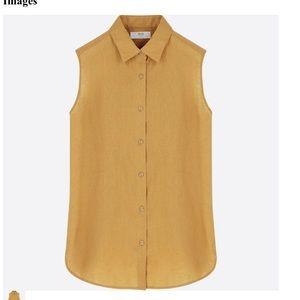 Uniqlo linen sleeveless blouse in mustard yellow